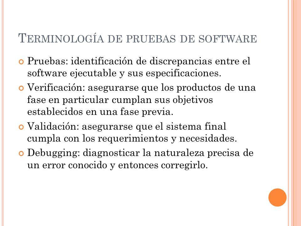 T ERMINOLOGÍA DE PRUEBAS DE SOFTWARE Pruebas: identificación de discrepancias entre el software ejecutable y sus especificaciones. Verificación: asegu