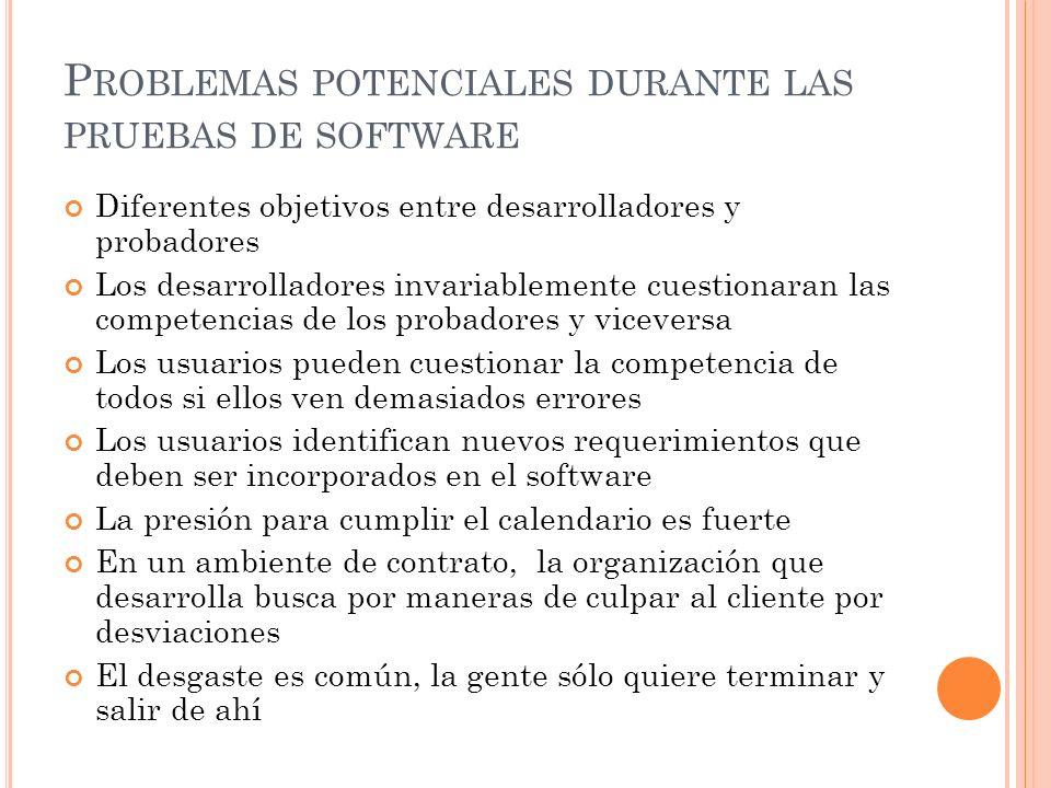 P ROBLEMAS POTENCIALES DURANTE LAS PRUEBAS DE SOFTWARE Diferentes objetivos entre desarrolladores y probadores Los desarrolladores invariablemente cue