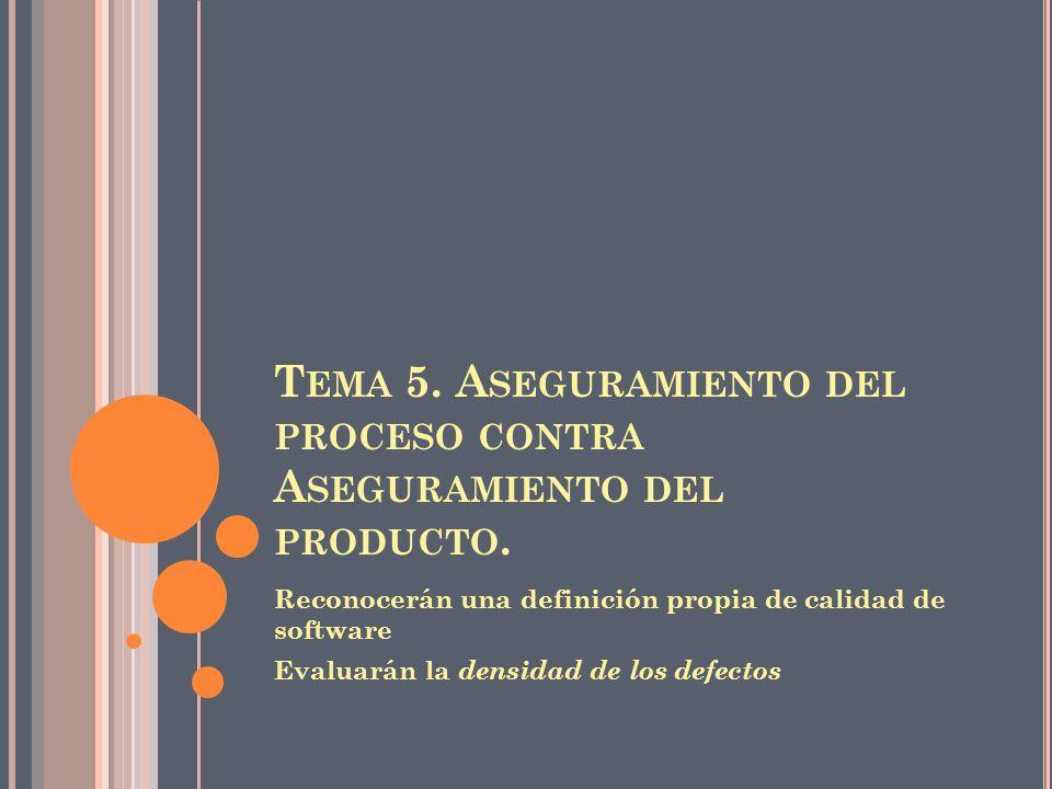 T EMA 5.A SEGURAMIENTO DEL PROCESO CONTRA A SEGURAMIENTO DEL PRODUCTO.
