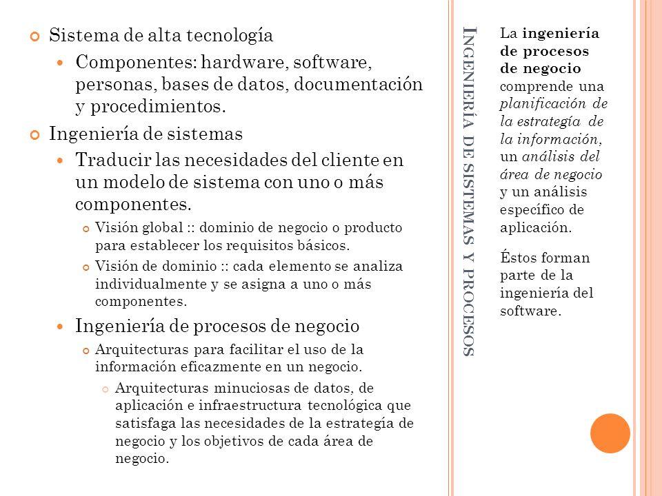 I NGENIERÍA DE SISTEMAS Y PROCESOS La ingeniería de procesos de negocio comprende una planificación de la estrategía de la información, un análisis de