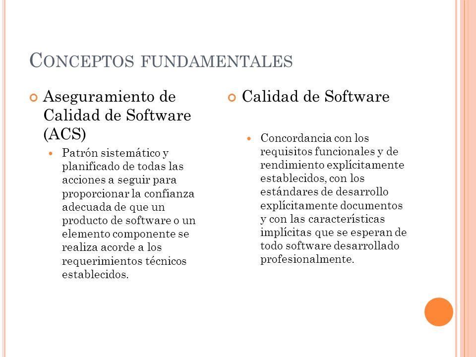 C ONCEPTOS FUNDAMENTALES Aseguramiento de Calidad de Software (ACS) Patrón sistemático y planificado de todas las acciones a seguir para proporcionar