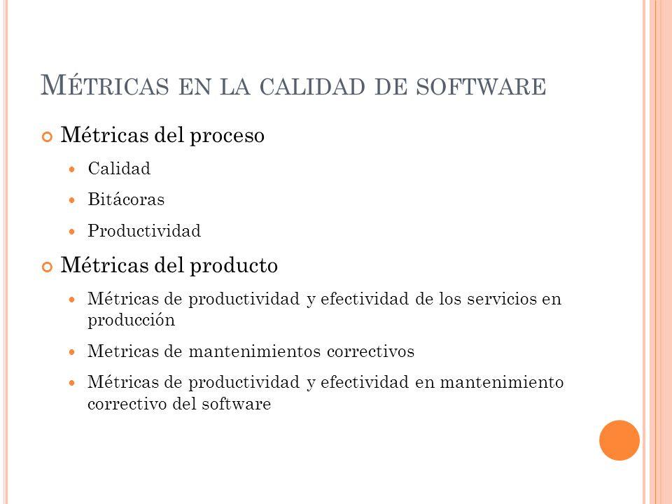 M ÉTRICAS EN LA CALIDAD DE SOFTWARE Métricas del proceso Calidad Bitácoras Productividad Métricas del producto Métricas de productividad y efectividad de los servicios en producción Metricas de mantenimientos correctivos Métricas de productividad y efectividad en mantenimiento correctivo del software