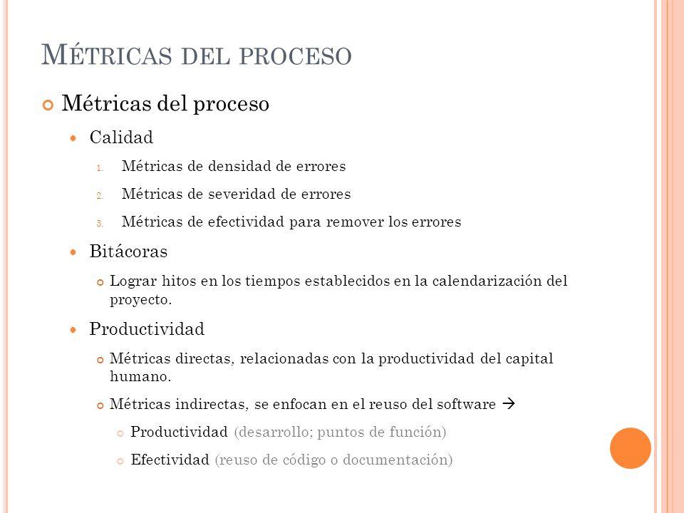 M ÉTRICAS DEL PROCESO Métricas del proceso Calidad 1. Métricas de densidad de errores 2. Métricas de severidad de errores 3. Métricas de efectividad p