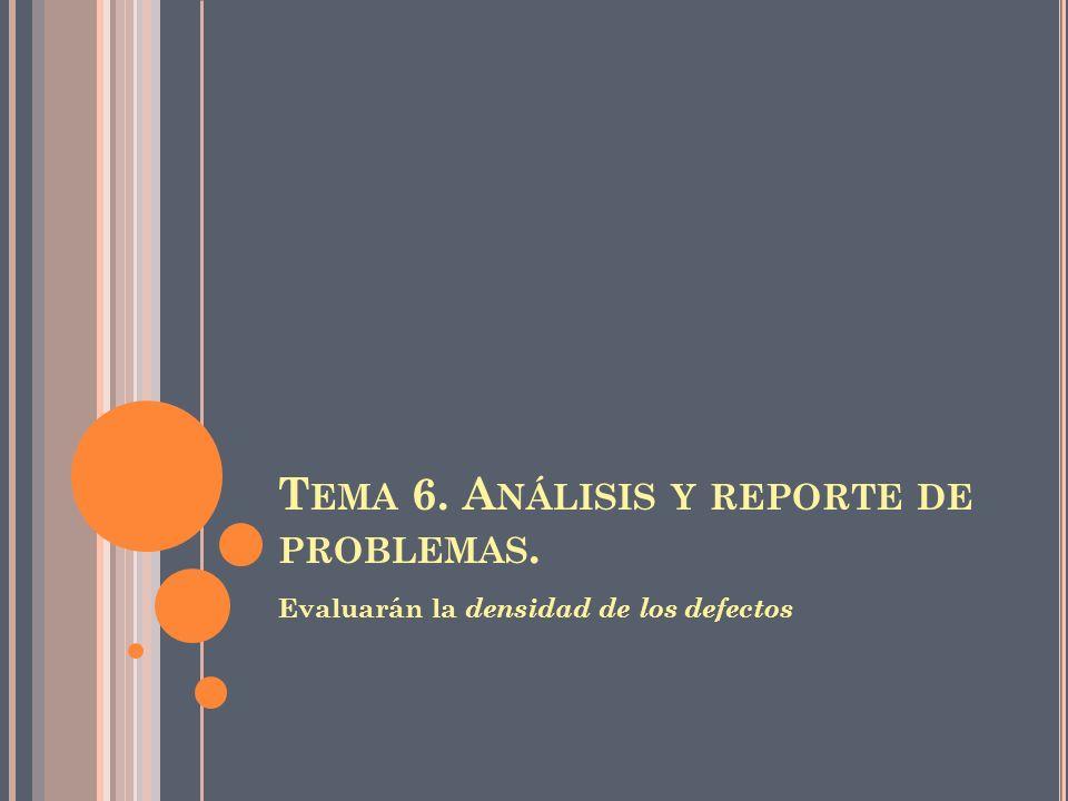 T EMA 6. A NÁLISIS Y REPORTE DE PROBLEMAS. Evaluarán la densidad de los defectos