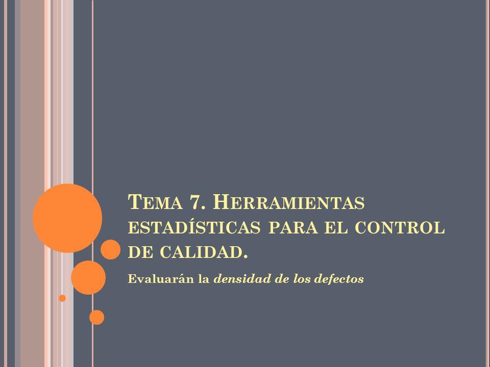 T EMA 7. H ERRAMIENTAS ESTADÍSTICAS PARA EL CONTROL DE CALIDAD. Evaluarán la densidad de los defectos