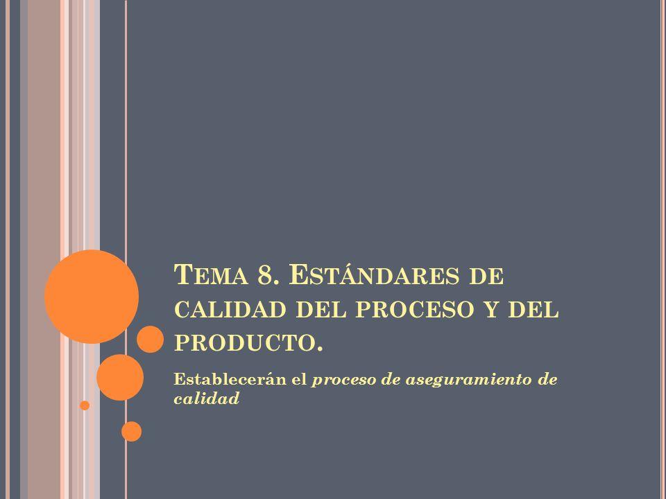 T EMA 8. E STÁNDARES DE CALIDAD DEL PROCESO Y DEL PRODUCTO. Establecerán el proceso de aseguramiento de calidad