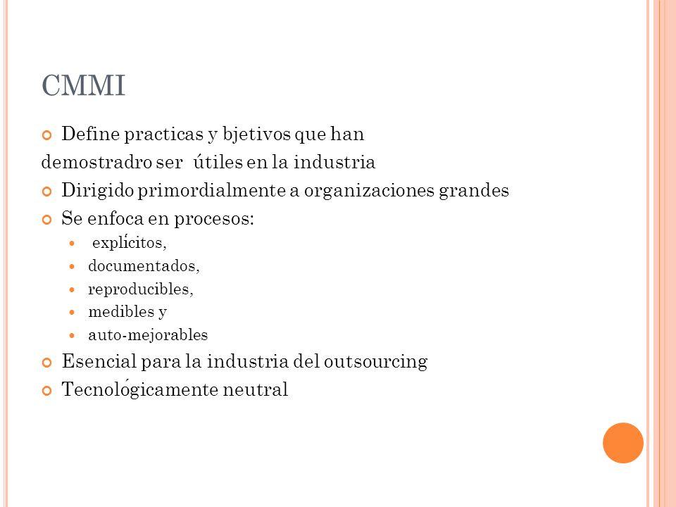 CMMI Define practicas y bjetivos que han demostradro ser útiles en la industria Dirigido primordialmente a organizaciones grandes Se enfoca en procesos : explicitos, documentados, reproducibles, medibles y auto-mejorables Esencial para la industria del outsourcing Tecnologicamente neutral