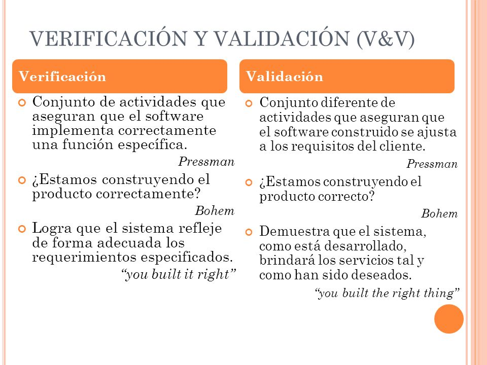 EJEMPLOS DE MÉTODOS PARA V&V Inspecciones· Revisiones entre paresPeer Auditorias Walkthroughs· Análisis Simulaciones· Testing· Demonstraciones Discusiones con usuarios (revisiones formales) Demostraciones de prototipos Presentaciones funcionales (e.g., service delivery run- throughs, end-user interface demonstrations)· Politeo de materiales de entrenamiento o capacitación Pruebas de servicios Pruebas de componentes del sistema realizadas por usuarios o principales involucrados VerificaciónValidación