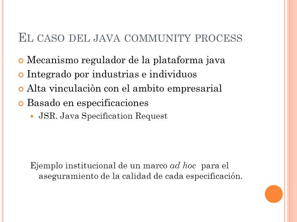 E L CASO DEL JAVA COMMUNITY PROCESS Mecanismo regulador de la plataforma java Integrado por industrias e individuos Alta vinculaciòn con el ambito empresarial Basado en especificaciones JSR.