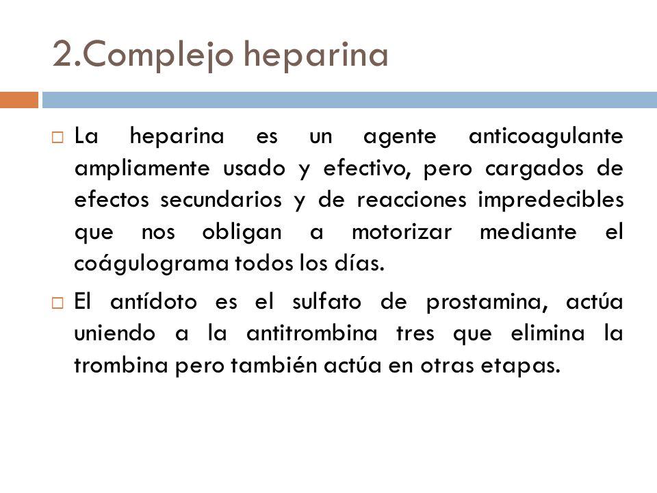 2.Complejo heparina La heparina es un agente anticoagulante ampliamente usado y efectivo, pero cargados de efectos secundarios y de reacciones impredecibles que nos obligan a motorizar mediante el coágulograma todos los días.