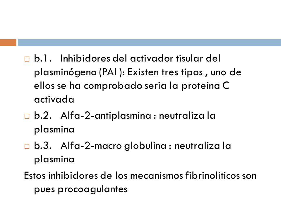 b.1. Inhibidores del activador tisular del plasminógeno (PAI ): Existen tres tipos, uno de ellos se ha comprobado seria la proteína C activada b.2. Al