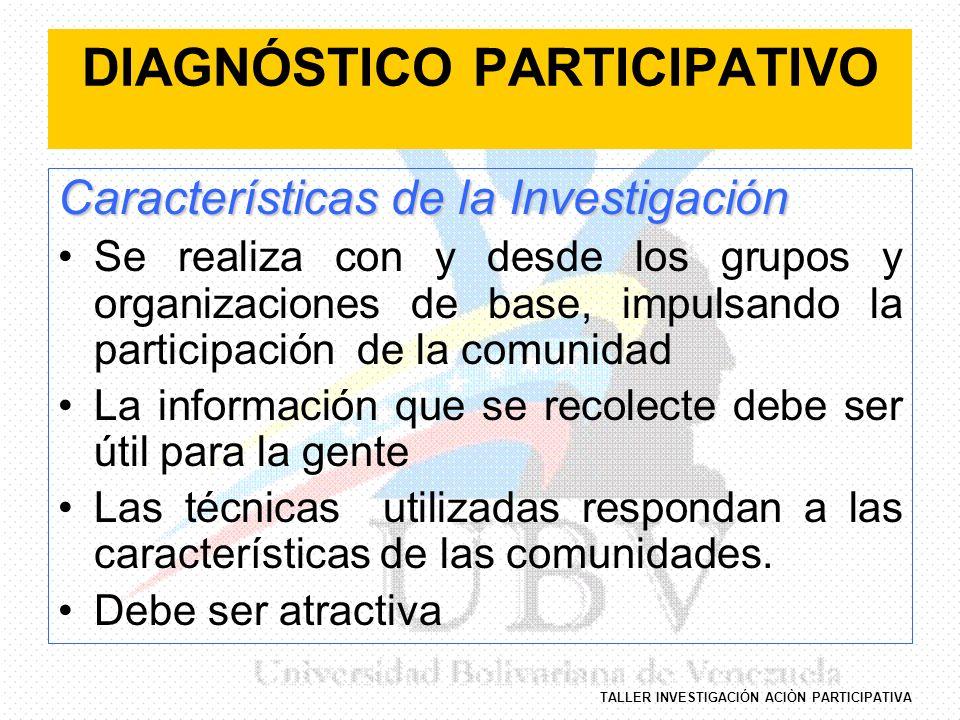 TALLER INVESTIGACIÓN ACIÒN PARTICIPATIVA DIAGNÓSTICO PARTICIPATIVO Características de la Investigación Se realiza con y desde los grupos y organizacio