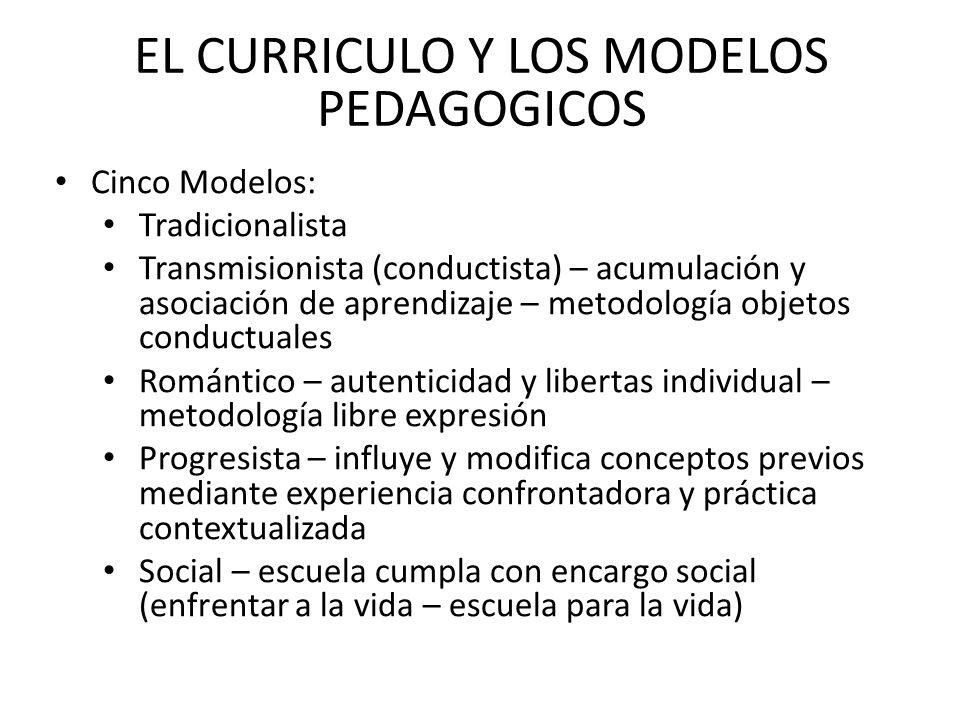 EL CURRICULO Y LOS MODELOS PEDAGOGICOS Cinco Modelos: Tradicionalista Transmisionista (conductista) – acumulación y asociación de aprendizaje – metodo