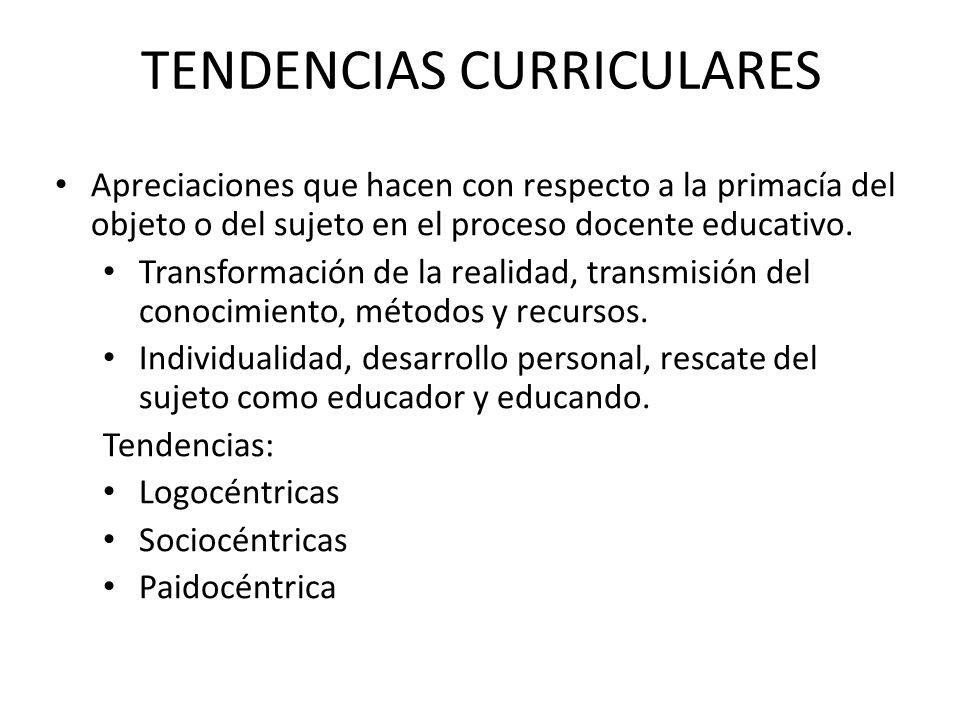 TENDENCIAS CURRICULARES Apreciaciones que hacen con respecto a la primacía del objeto o del sujeto en el proceso docente educativo. Transformación de