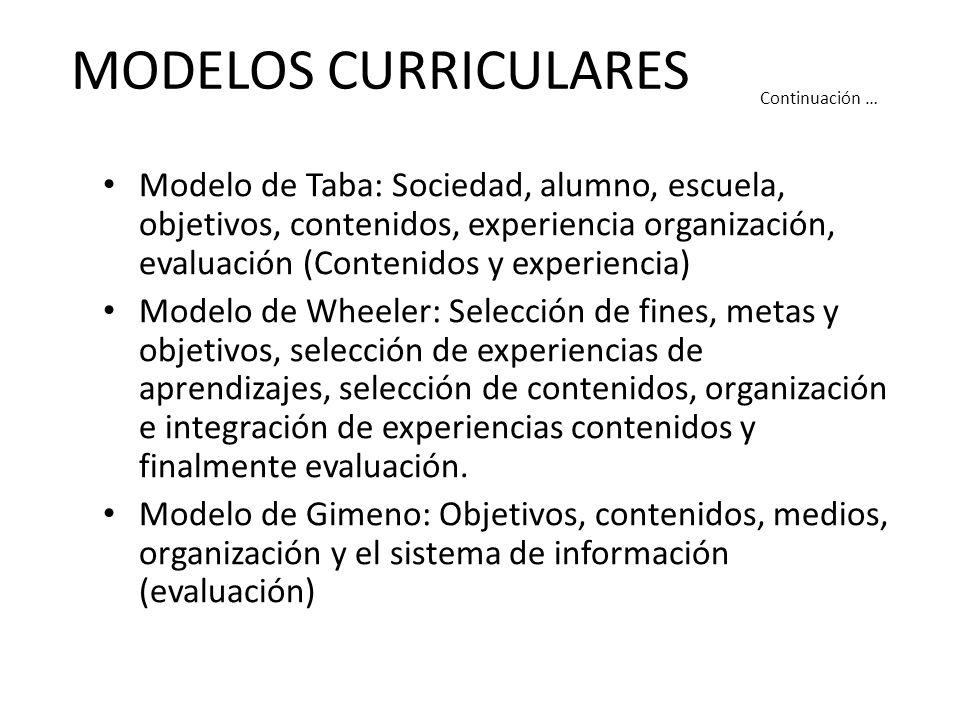 MODELOS CURRICULARES Modelo de Taba: Sociedad, alumno, escuela, objetivos, contenidos, experiencia organización, evaluación (Contenidos y experiencia) Modelo de Wheeler: Selección de fines, metas y objetivos, selección de experiencias de aprendizajes, selección de contenidos, organización e integración de experiencias contenidos y finalmente evaluación.