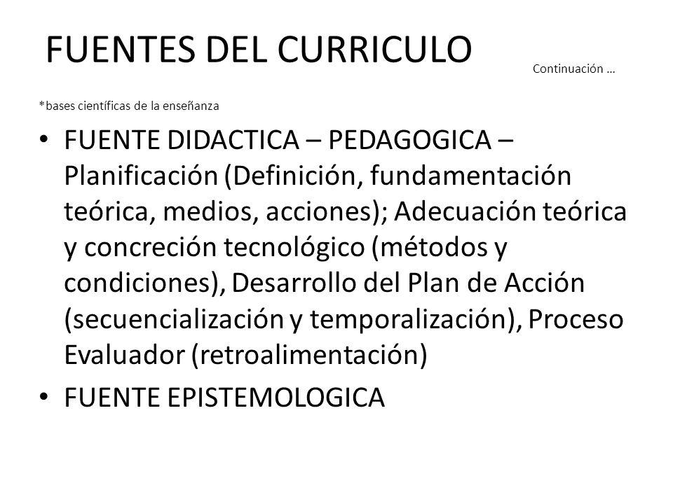 FUENTES DEL CURRICULO Continuación … *bases científicas de la enseñanza FUENTE DIDACTICA – PEDAGOGICA – Planificación (Definición, fundamentación teórica, medios, acciones); Adecuación teórica y concreción tecnológico (métodos y condiciones), Desarrollo del Plan de Acción (secuencialización y temporalización), Proceso Evaluador (retroalimentación) FUENTE EPISTEMOLOGICA