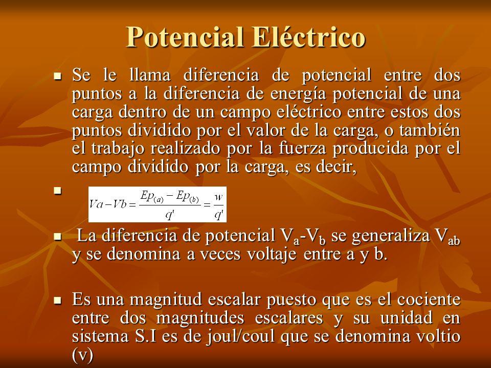 Potencial Eléctrico Se le llama diferencia de potencial entre dos puntos a la diferencia de energía potencial de una carga dentro de un campo eléctric