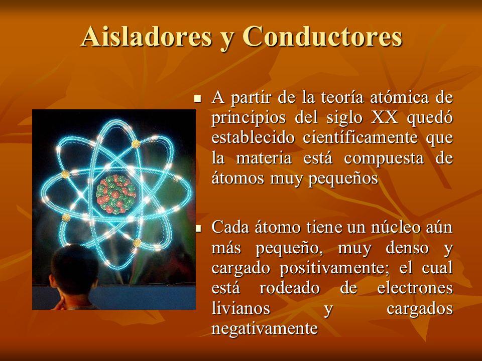 Aisladores y Conductores A partir de la teoría atómica de principios del siglo XX quedó establecido científicamente que la materia está compuesta de á