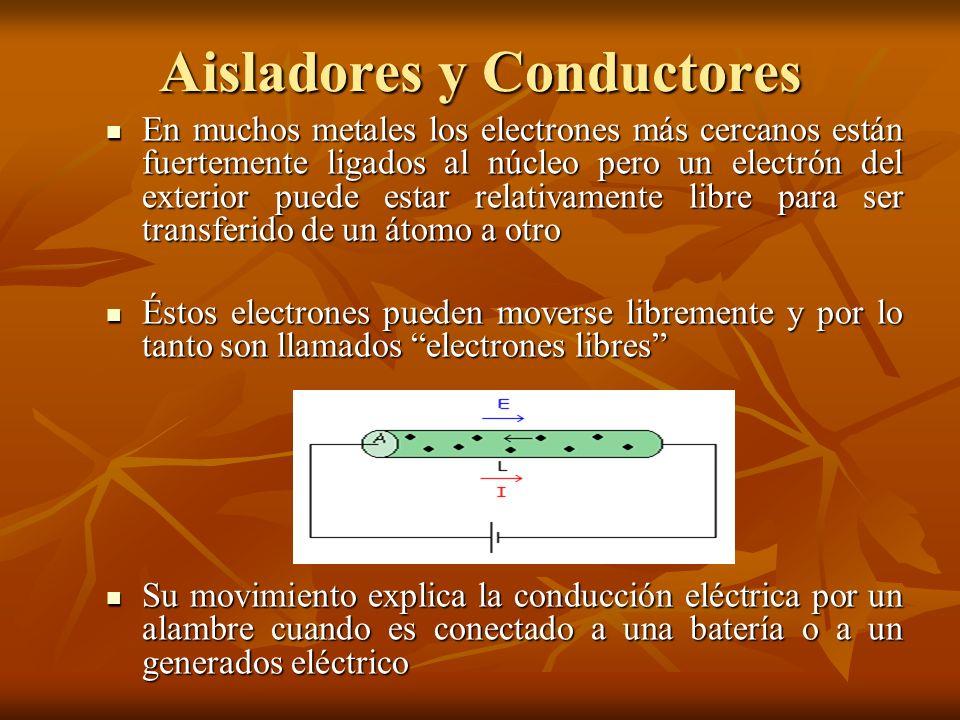 Aisladores y Conductores En muchos metales los electrones más cercanos están fuertemente ligados al núcleo pero un electrón del exterior puede estar r