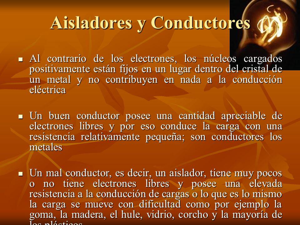 Aisladores y Conductores Al contrario de los electrones, los núcleos cargados positivamente están fijos en un lugar dentro del cristal de un metal y n