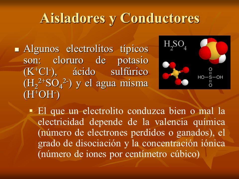 Aisladores y Conductores Algunos electrolitos típicos son: cloruro de potasio (K + Cl - ), ácido sulfúrico (H 2 2+ SO 4 2- ) y el agua misma (H + OH -