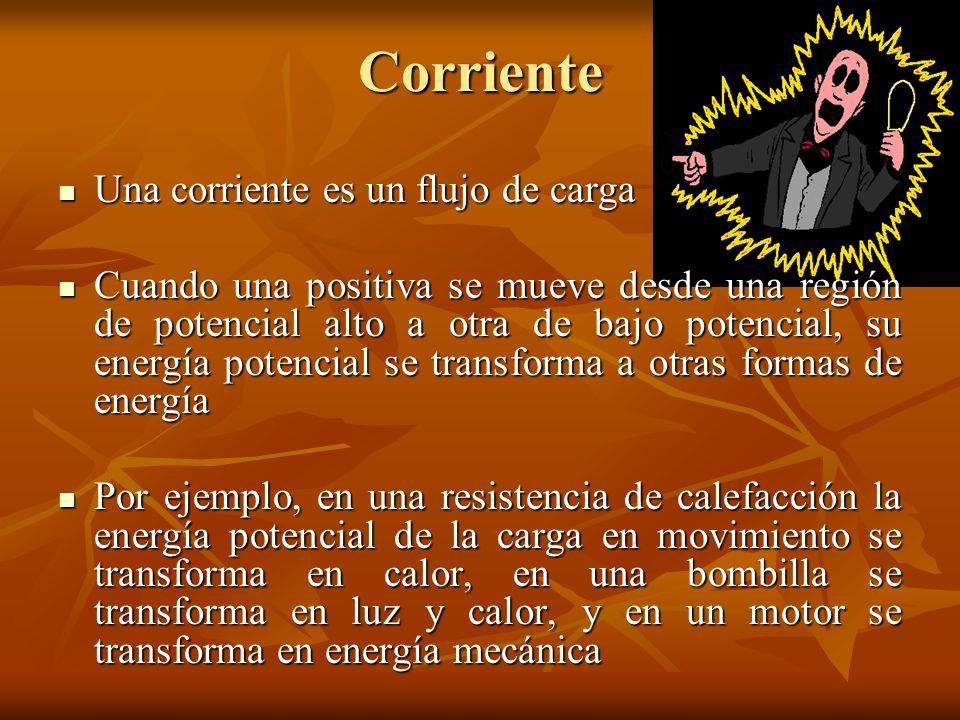 Corriente Una corriente es un flujo de carga Una corriente es un flujo de carga Cuando una positiva se mueve desde una región de potencial alto a otra