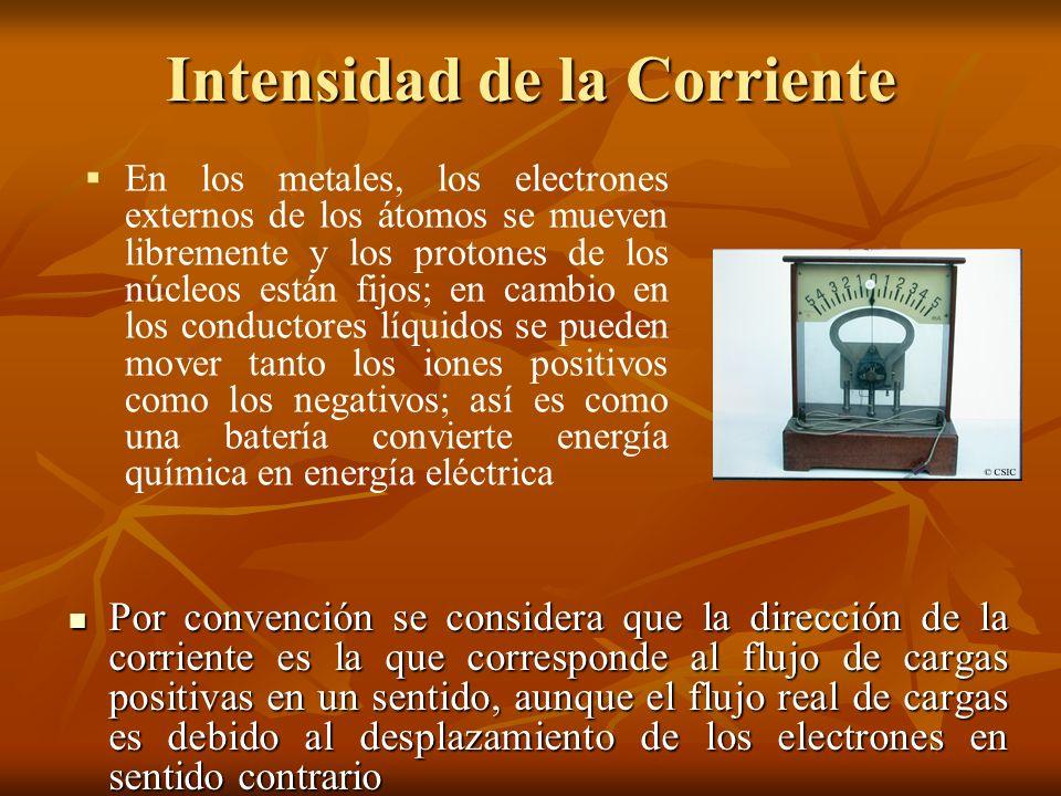 Intensidad de la Corriente Por convención se considera que la dirección de la corriente es la que corresponde al flujo de cargas positivas en un senti