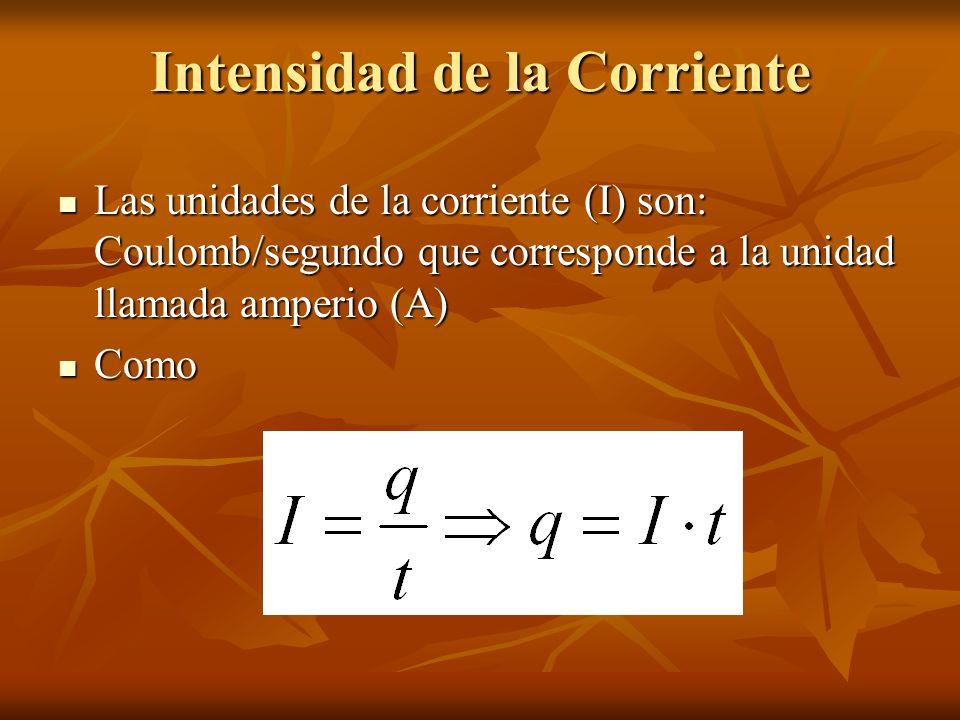 Intensidad de la Corriente Las unidades de la corriente (I) son: Coulomb/segundo que corresponde a la unidad llamada amperio (A) Las unidades de la co