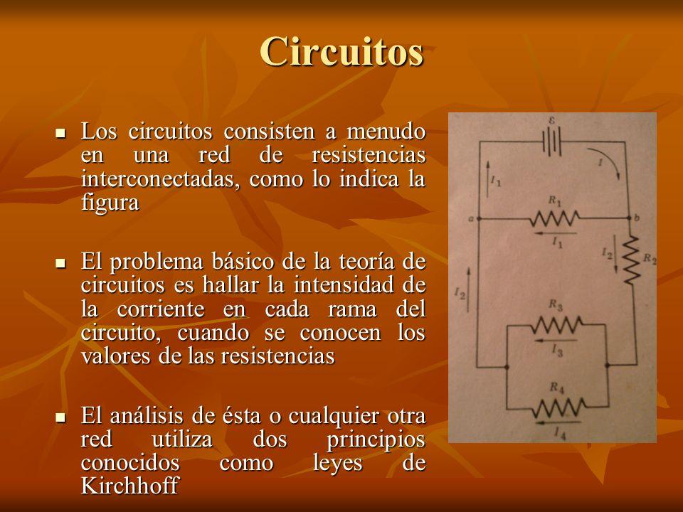 Circuitos Los circuitos consisten a menudo en una red de resistencias interconectadas, como lo indica la figura Los circuitos consisten a menudo en un
