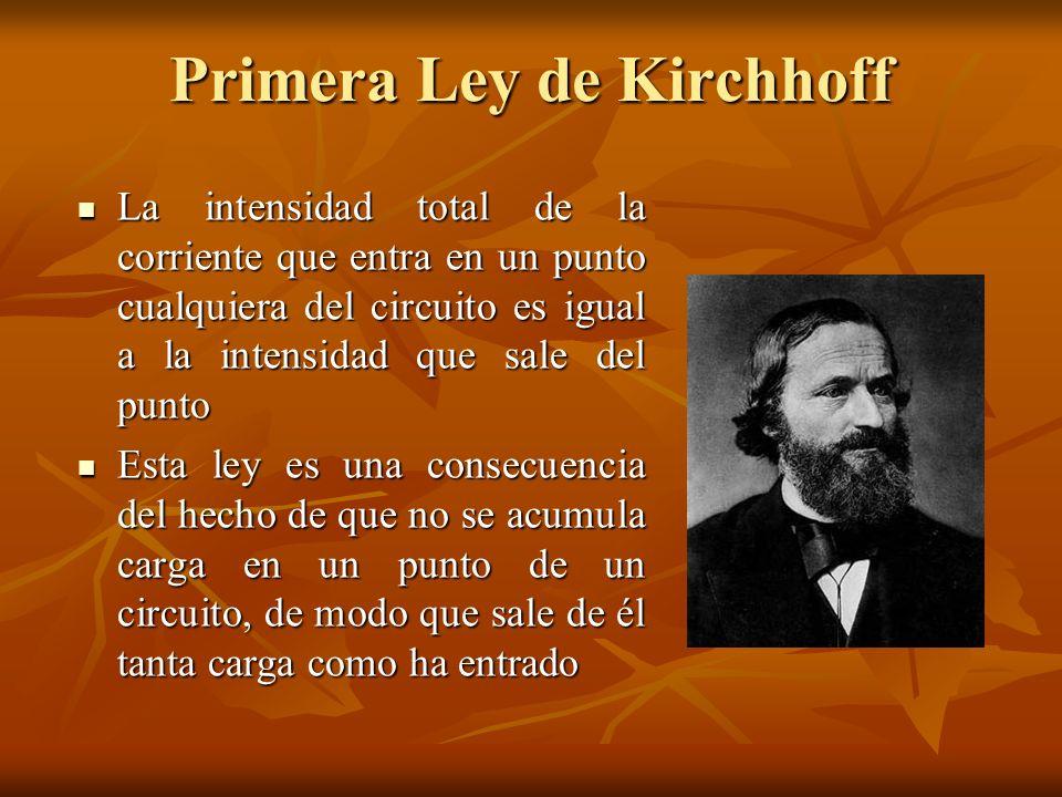 Primera Ley de Kirchhoff La intensidad total de la corriente que entra en un punto cualquiera del circuito es igual a la intensidad que sale del punto