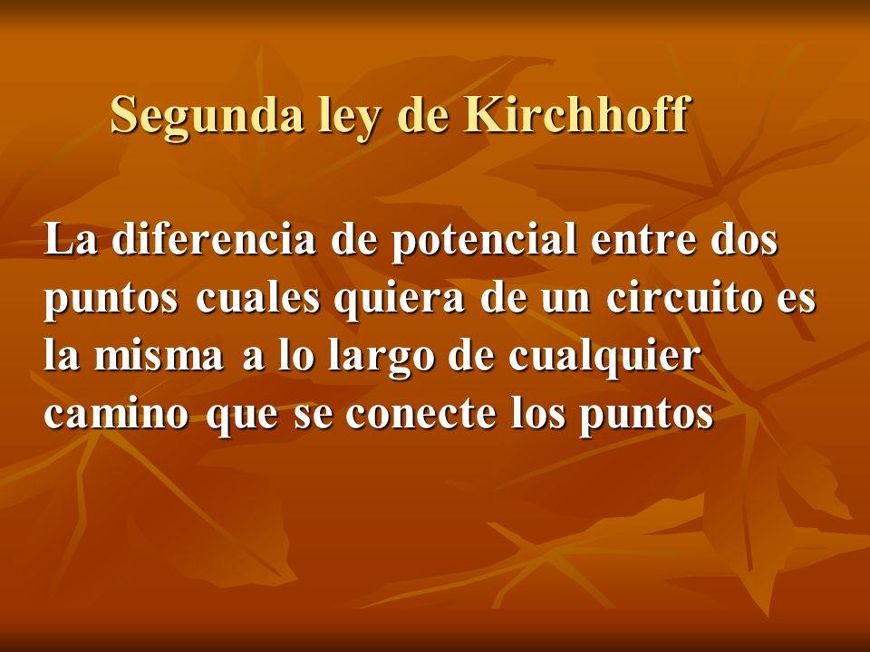 Segunda ley de Kirchhoff La diferencia de potencial entre dos puntos cuales quiera de un circuito es la misma a lo largo de cualquier camino que se co