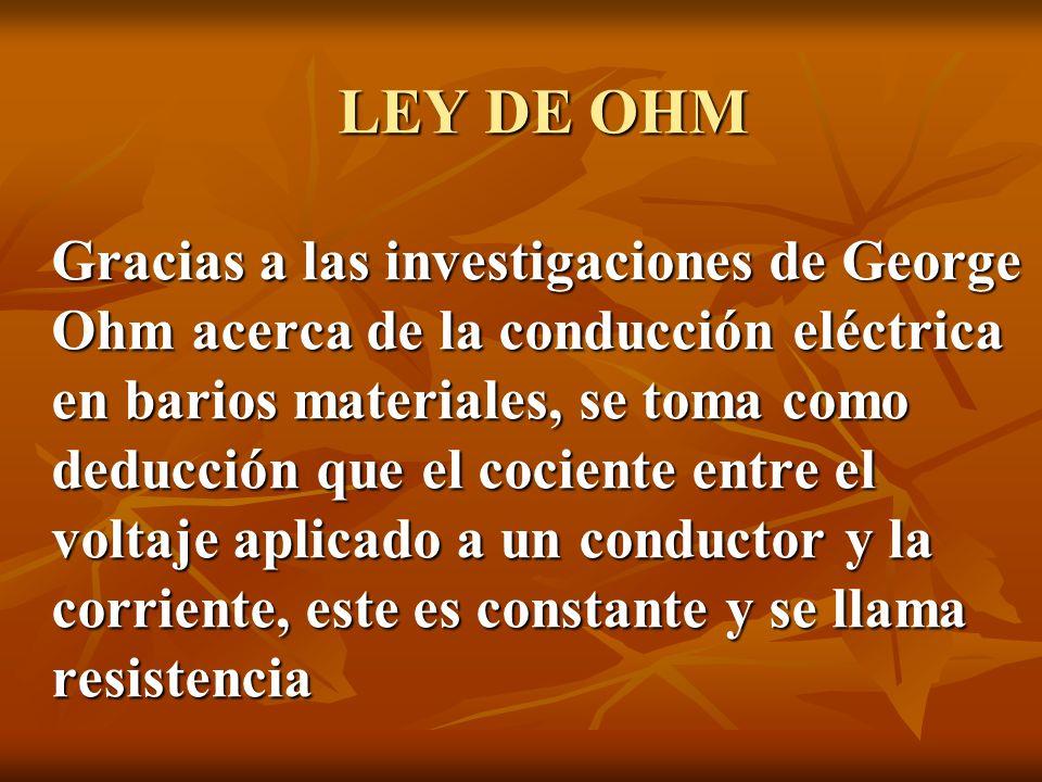 LEY DE OHM Gracias a las investigaciones de George Ohm acerca de la conducción eléctrica en barios materiales, se toma como deducción que el cociente