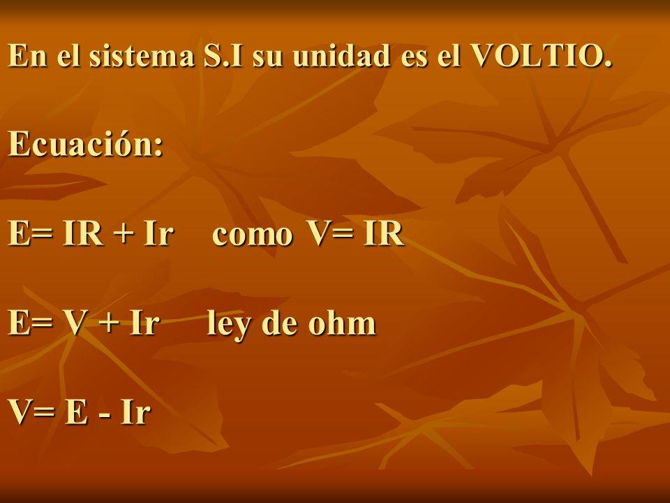 En el sistema S.I su unidad es el VOLTIO. Ecuación: E= IR + Ir como V= IR E= V + Ir ley de ohm V= E - Ir