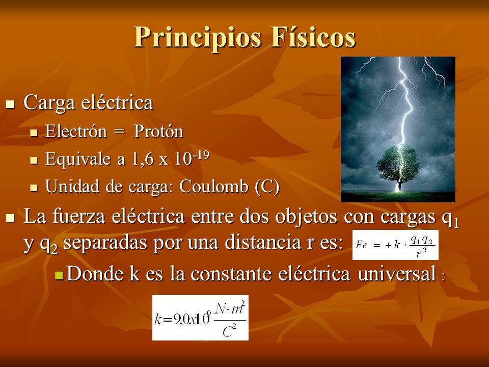 Principios Físicos Carga eléctrica Carga eléctrica Electrón = Protón Electrón = Protón Equivale a 1,6 x 10 -19 Equivale a 1,6 x 10 -19 Unidad de carga