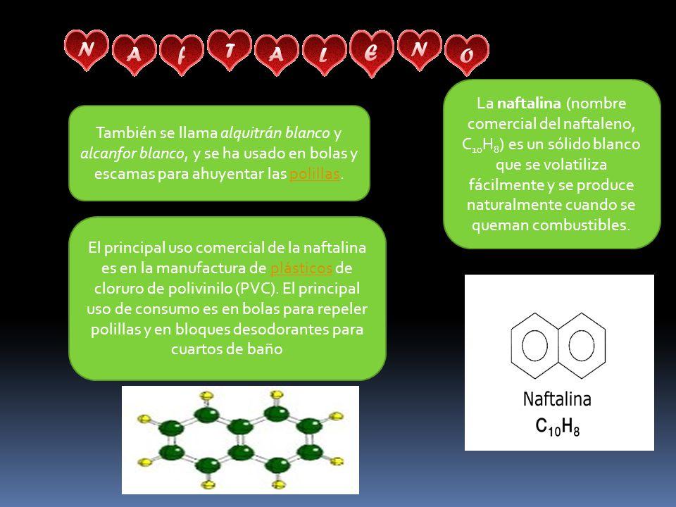 La naftalina (nombre comercial del naftaleno, C 10 H 8 ) es un sólido blanco que se volatiliza fácilmente y se produce naturalmente cuando se queman combustibles.