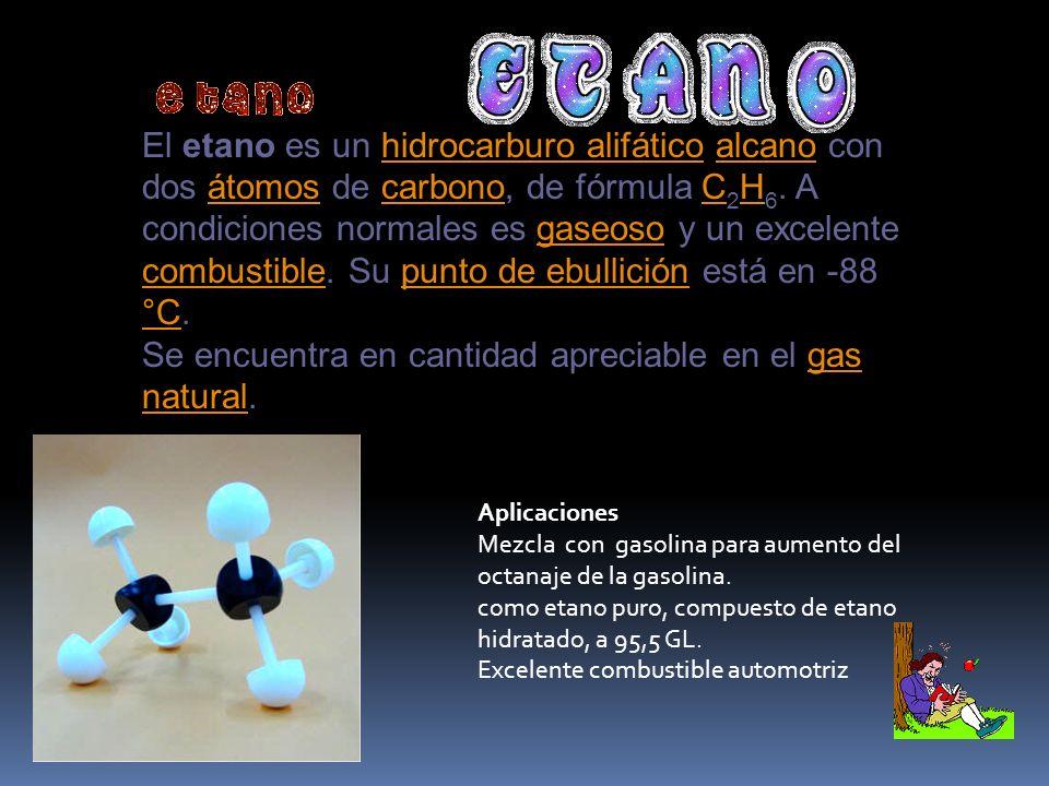 Fórmula Molecular CH3 - CH2 - CH3 C3H8 Propiedades físicas gaseoso, incoloro y combustible, su punto de fusión es -138.3° y su punto de ebullición es de -0.5 ° C.