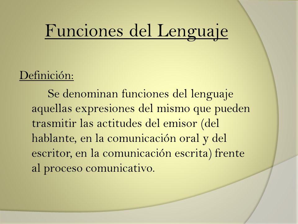 Funciones del Lenguaje Definición: Se denominan funciones del lenguaje aquellas expresiones del mismo que pueden trasmitir las actitudes del emisor (d