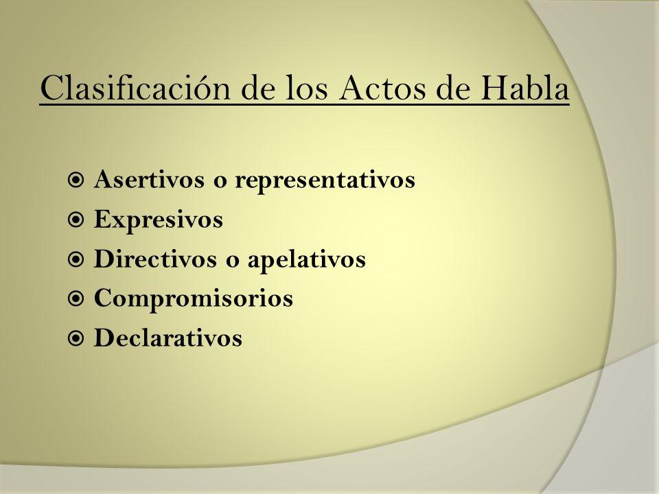 Clasificación de los Actos de Habla Asertivos o representativos Expresivos Directivos o apelativos Compromisorios Declarativos