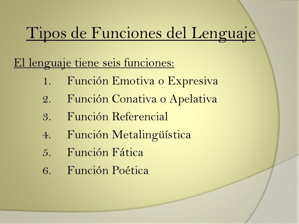 Tipos de Funciones del Lenguaje El lenguaje tiene seis funciones: 1. Función Emotiva o Expresiva 2. Función Conativa o Apelativa 3. Función Referencia