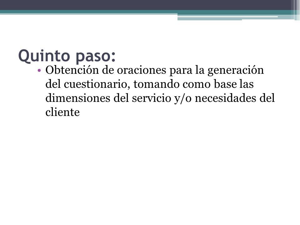 Quinto paso: Obtención de oraciones para la generación del cuestionario, tomando como base las dimensiones del servicio y/o necesidades del cliente