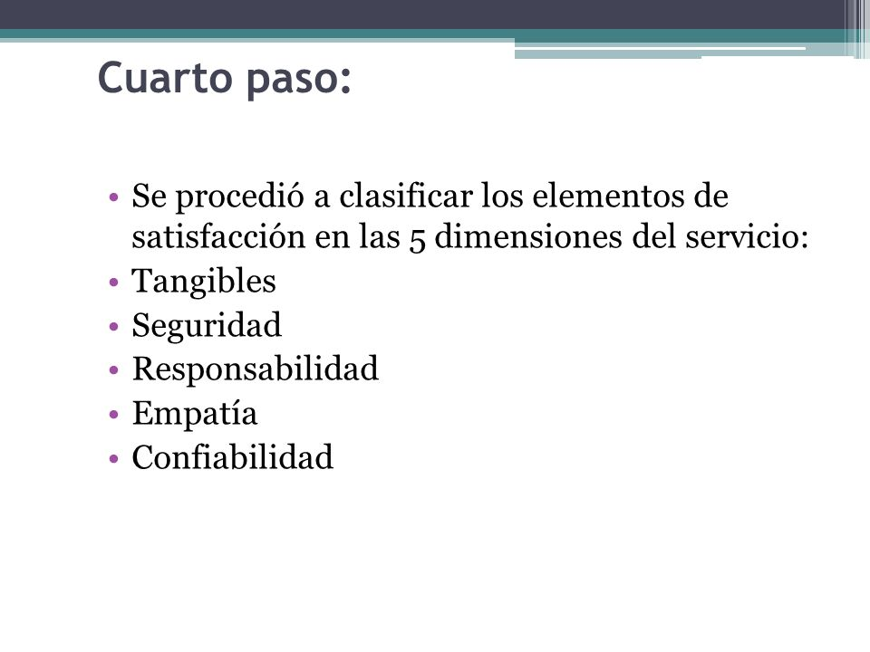Cuarto paso: Se procedió a clasificar los elementos de satisfacción en las 5 dimensiones del servicio: Tangibles Seguridad Responsabilidad Empatía Confiabilidad