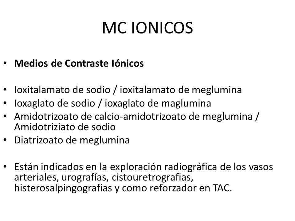 MC IONICOS Medios de Contraste Iónicos Ioxitalamato de sodio / ioxitalamato de meglumina Ioxaglato de sodio / ioxaglato de maglumina Amidotrizoato de
