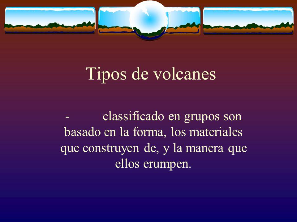 Tipos de volcanes - classificado en grupos son basado en la forma, los materiales que construyen de, y la manera que ellos erumpen.