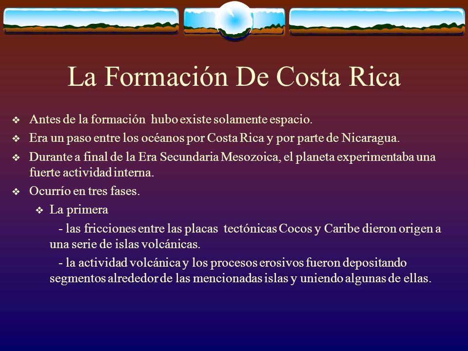 La Formación De Costa Rica Antes de la formación hubo existe solamente espacio. Era un paso entre los océanos por Costa Rica y por parte de Nicaragua.