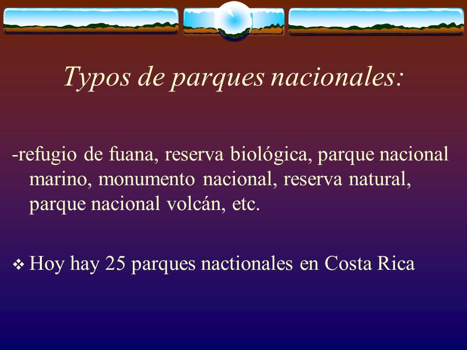 Typos de parques nacionales: -refugio de fuana, reserva biológica, parque nacional marino, monumento nacional, reserva natural, parque nacional volcán