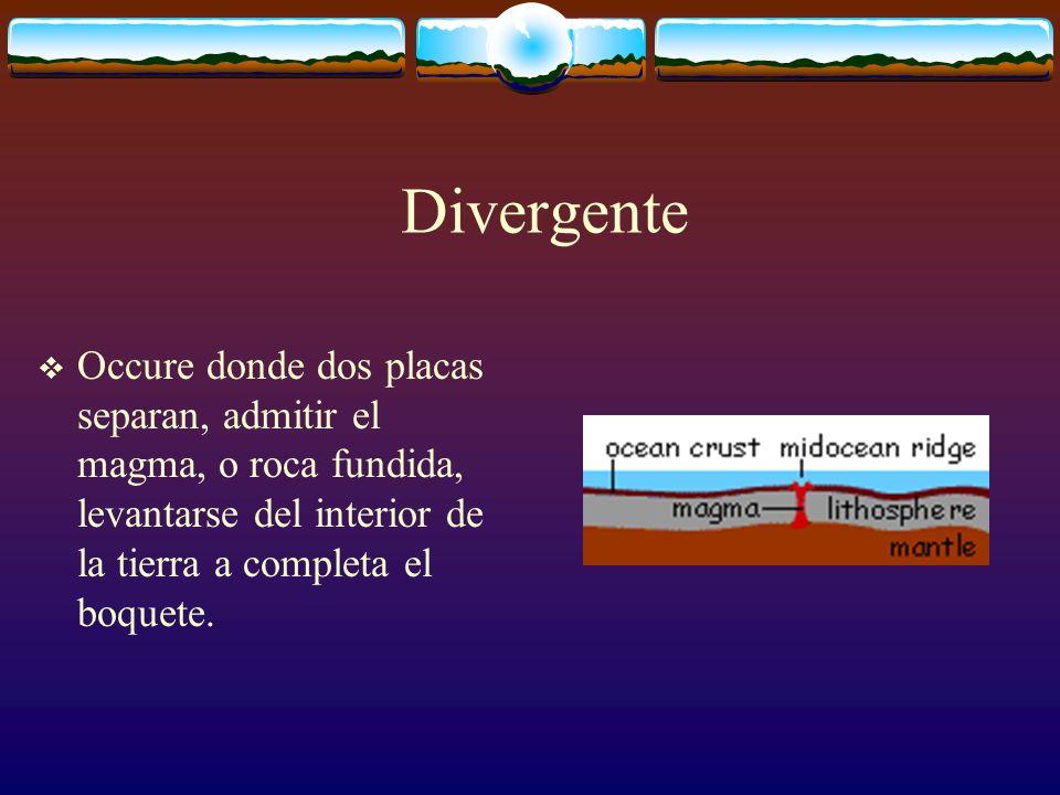 Divergente Occure donde dos placas separan, admitir el magma, o roca fundida, levantarse del interior de la tierra a completa el boquete.