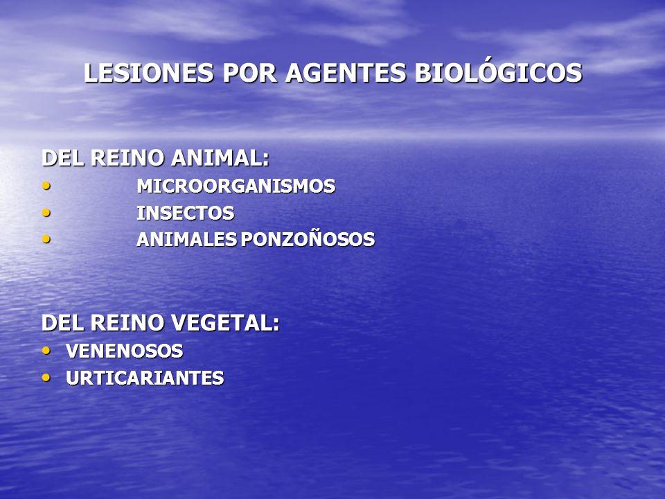 LESIONES POR AGENTES BIOLÓGICOS DEL REINO ANIMAL: MICROORGANISMOS MICROORGANISMOS INSECTOS INSECTOS ANIMALES PONZOÑOSOS ANIMALES PONZOÑOSOS DEL REINO