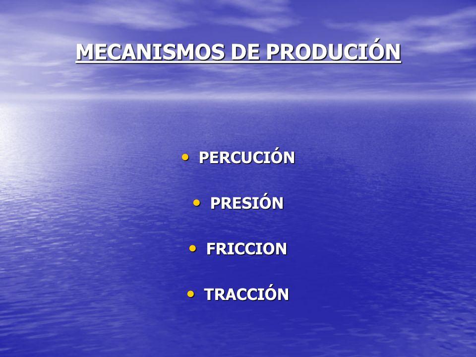 MECANISMOS DE PRODUCIÓN PERCUCIÓN PERCUCIÓN PRESIÓN PRESIÓN FRICCION FRICCION TRACCIÓN TRACCIÓN