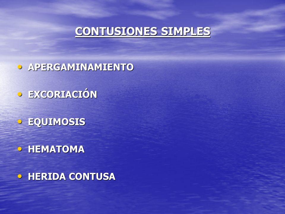 CONTUSIONES SIMPLES APERGAMINAMIENTO APERGAMINAMIENTO EXCORIACIÓN EXCORIACIÓN EQUIMOSIS EQUIMOSIS HEMATOMA HEMATOMA HERIDA CONTUSA HERIDA CONTUSA