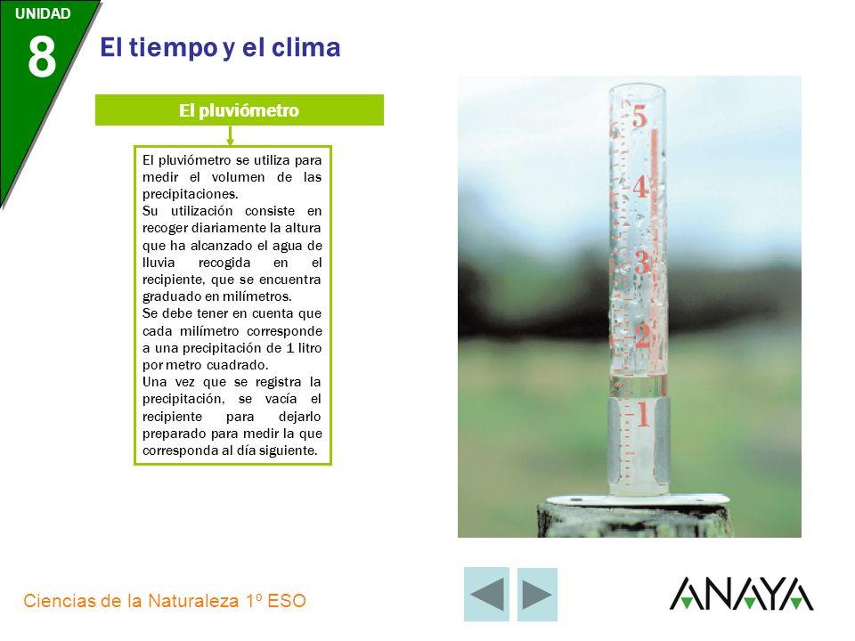 UNIDAD 8 Ciencias de la Naturaleza 1º ESO El tiempo y el clima El termómetro El termómetro se utiliza para medir la temperatura de la atmósfera. Como